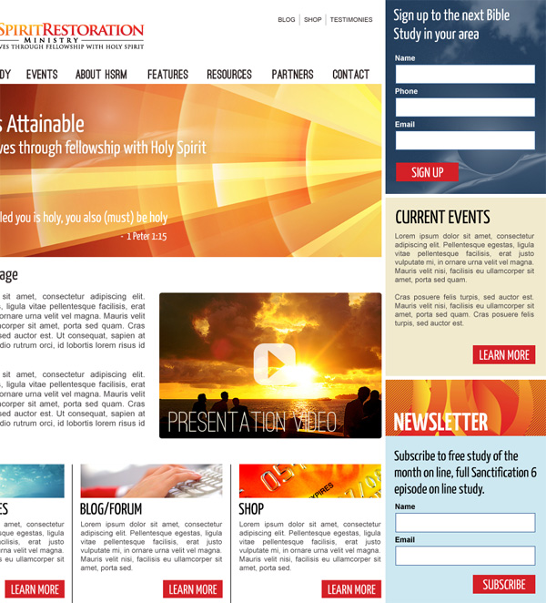 User interface for an Australian religious organization. Home and content page design