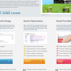 Layout proposal for a creative web agency based in Sussex, England.