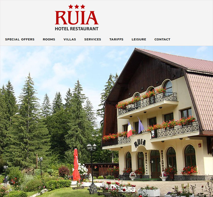 Création de sites web - Hotel Ruia, Roumanie